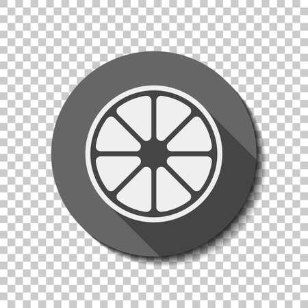Whole lemon or orange. Simple icon. flat icon, long shadow, circle, transparent grid. Badge or sticker style