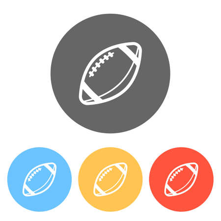 American Football logo. Simple rugby ball icon. Set of white icons on colored circles Ilustração