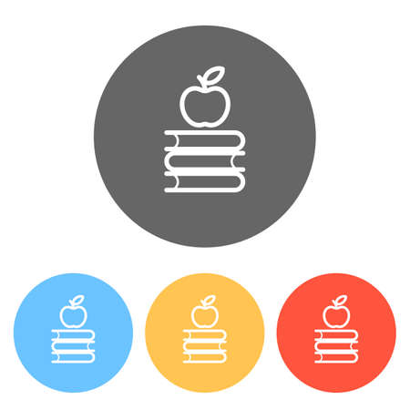Apple on books icon. Knowledge logo. Set of white icons on colored circles