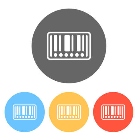 Barcode label icon. Circles instead of numbers. Set of white icons on colored circles