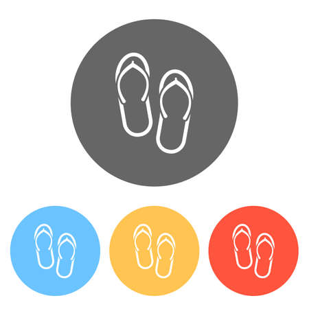 Beach slippers. Flip flops icon. Set of white icons on colored circles