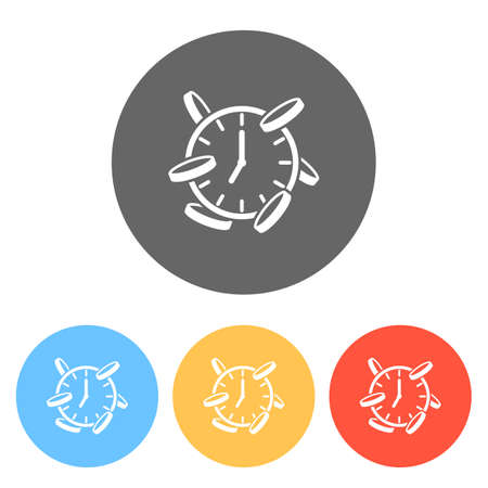 Time is money. Clock and coins. Finance icon. Set of white icons on colored circles