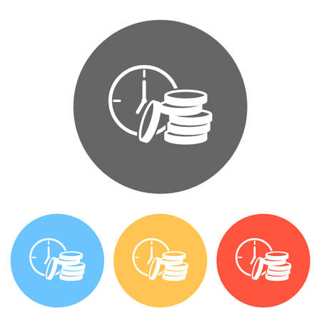 Time is money. Clock and coin stack. Finance icon. Set of white icons on colored circles Ilustração