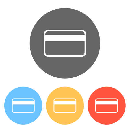 Simple credit card icon. Set of white icons on colored circles