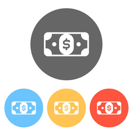 Dollar banknote. Simple icon. Set of white icons on colored circles