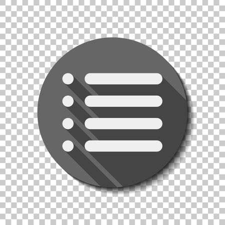 Simple list menu icon. flat icon, long shadow, circle, transparent grid. Badge or sticker style Ilustração
