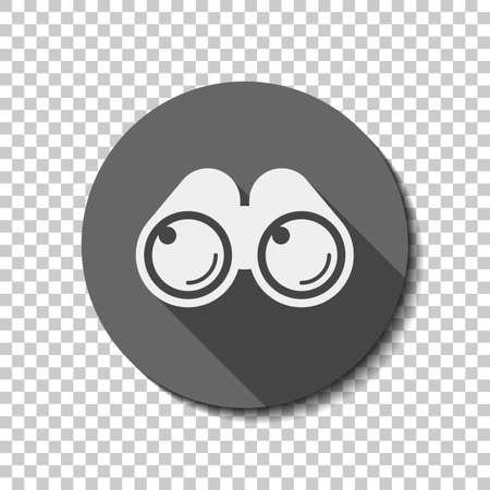 Simple binocular icon. flat icon, long shadow, circle, transparent grid. Badge or sticker style
