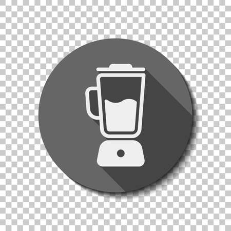 Simple blender icon. Electronic kitchen mixer. flat icon, long shadow, circle, transparent grid. Badge or sticker style
