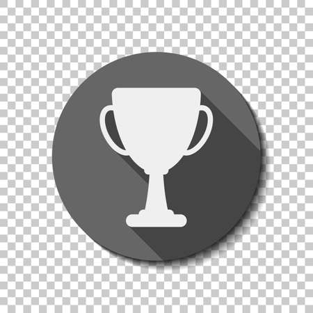 Silhouette of champions cup. Simple icon. flat icon, long shadow, circle, transparent grid. Badge or sticker style Ilustração