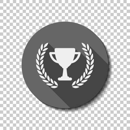 Champions cup with laurel wreath. Simple icon. flat icon, long shadow, circle, transparent grid. Badge or sticker style Ilustração