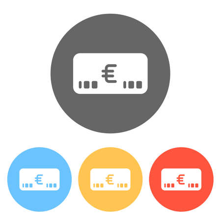 Money voutcher. EURO Card icon. Set of white icons on colored circles