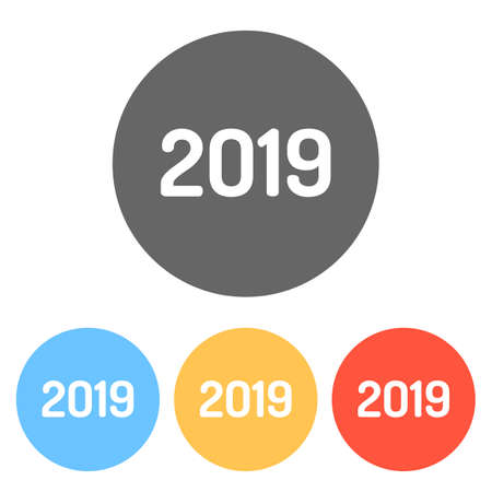 2019 number icon. Happy New Year. Set of white icons on colored circles