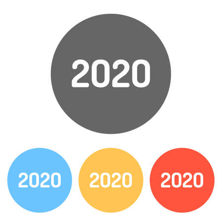2020 number icon. Happy New Year. Set of white icons on colored circles Ilustração