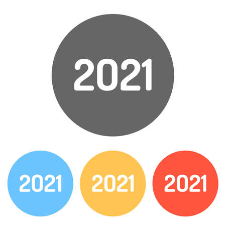 2021 number icon. Happy New Year. Set of white icons on colored circles Ilustração