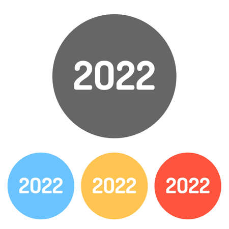 2022 number icon. Happy New Year. Set of white icons on colored circles