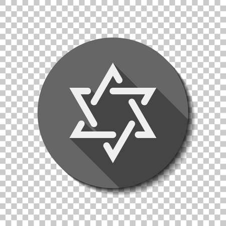 Star of david, simple icon. flat icon, long shadow, circle, transparent grid. Badge or sticker style Illustration