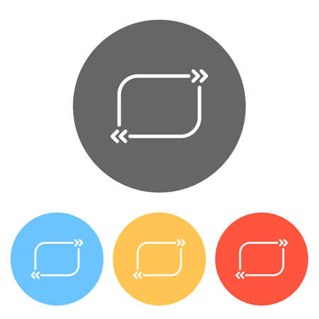 Text quote rectangle. Simple icon. Set of white icons on colored circles