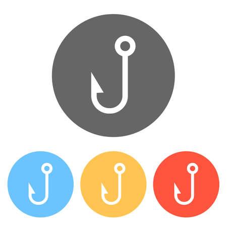 Fishing hook. Simple icon. Set of white icons on colored circles Ilustração
