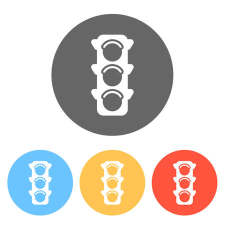 Traffic light icon. Set of white icons on colored circles