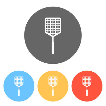 Fly swatter icon. Set of white icons on colored circles