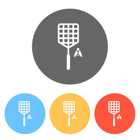 Fly swatter and insect. Simple icon. Set of white icons on colored circles