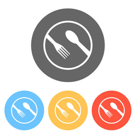 food tools. fork and spoon. Set of white icons on colored circles