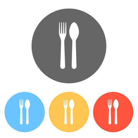 Fork and spoon, icon. Kitchen tools. Set of white icons on colored circles