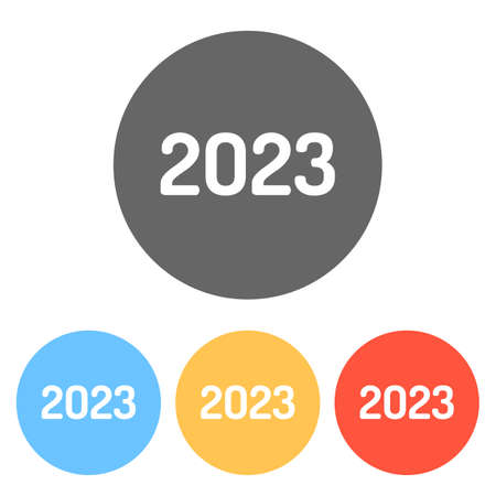 2023 number icon. Happy New Year. Set of white icons on colored circles