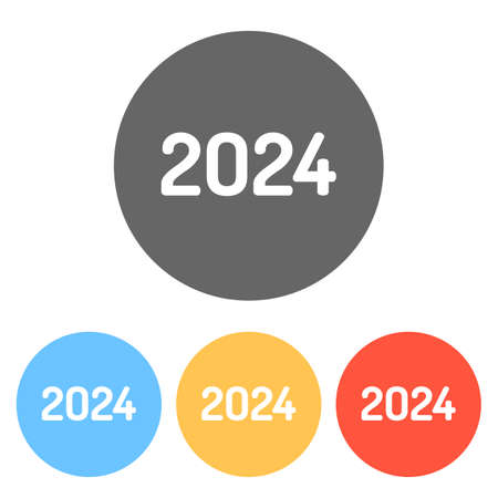 2024 number icon. Happy New Year. Set of white icons on colored circles