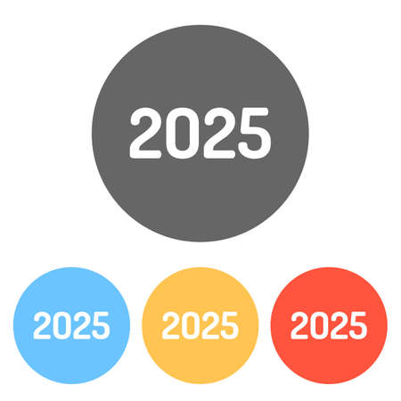 2025 number icon. Happy New Year. Set of white icons on colored circles Ilustração