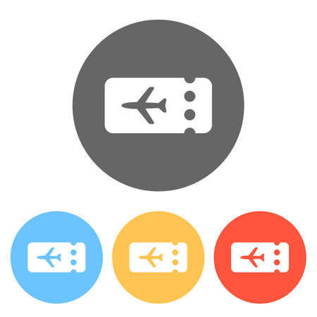 Simple ticket plane icon. Blank card. Set of white icons on colored circles