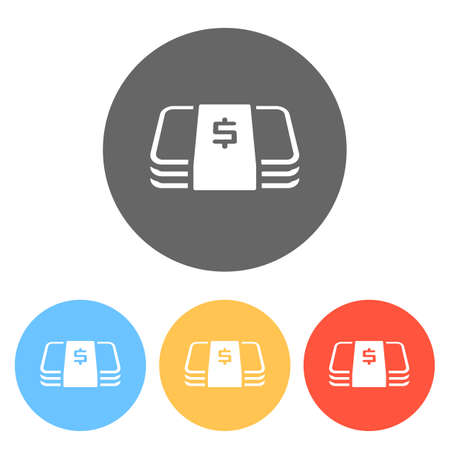 Pack of dollar money or vouchers. Business icon. Set of white icons on colored circles