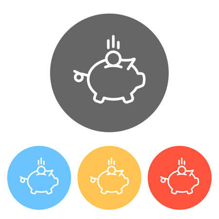 Piggy bank, dollar coin. Business icon. Set of white icons on colored circles Ilustração