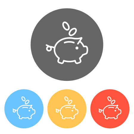 Piggy bank, dollar coins. Business icon. Set of white icons on colored circles