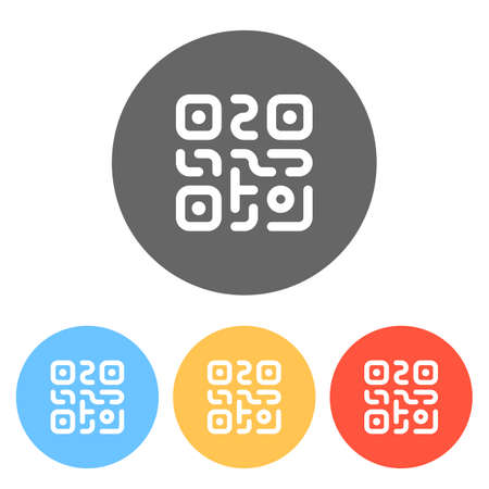 QR code. Technology icon. Simple logo. Set of white icons on colored circles