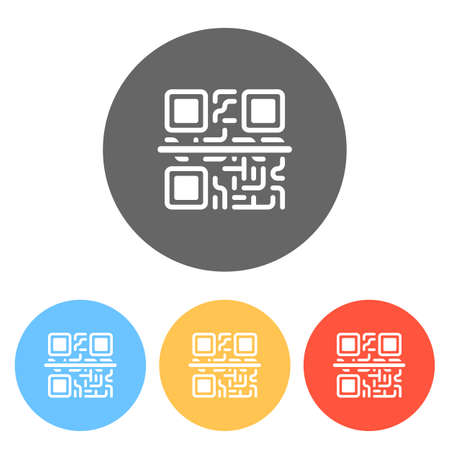 Scanning QR code. Technology icon. Set of white icons on colored circles