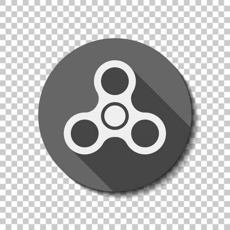 Spinner icon. Toy for stress relief. flat icon, long shadow, circle, transparent grid. Badge or sticker style