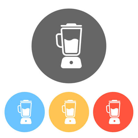 Simple blender icon. Electronic kitchen mixer. Set of white icons on colored circles
