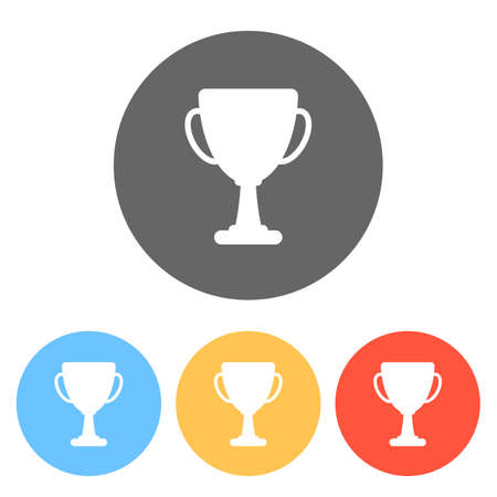 Silhouette of champions cup. Simple icon. Set of white icons on colored circles Ilustração