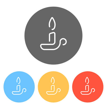 Simple outline candle icon. One line style. Set of white icons on colored circles