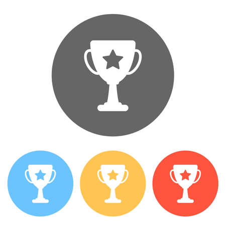 Champions cup with star. Simple icon. Set of white icons on colored circles