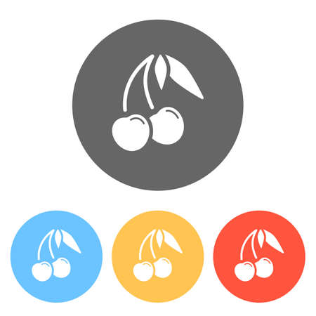 Silhouette of cherry with leaves, nature icon. Set of white icons on colored circles