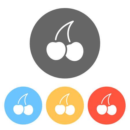 Silhouette of cherry, nature icon. Set of white icons on colored circles Ilustração