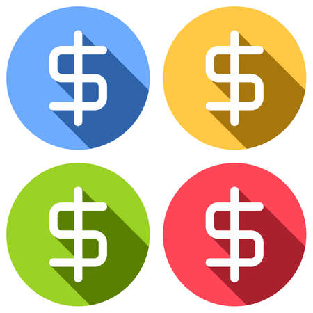 simple dollar symbol. Set of white icons with long shadow on blue, orange, green and red colored circles. Sticker style
