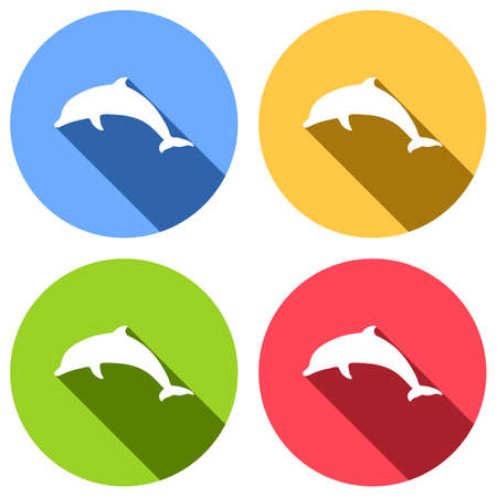 silhouette of dolphin. Set of white icons with long shadow on blue, orange, green and red colored circles. Sticker style