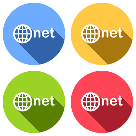 one of main domains, globe and net. Set of white icons with long shadow on blue, orange, green and red colored circles. Sticker style