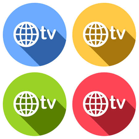domain for media and television, globe and tv. Set of white icons with long shadow on blue, orange, green and red colored circles. Sticker style