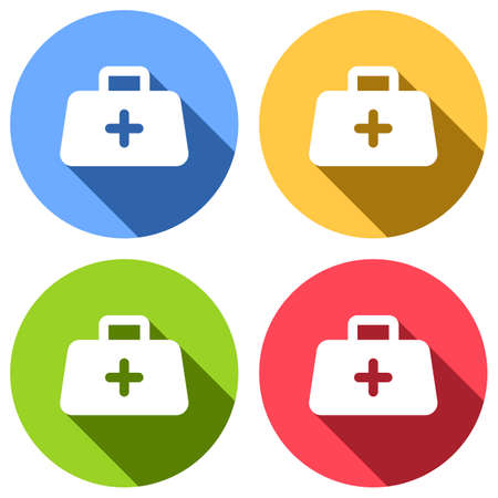 first-aid kit, simple icon. Set of white icons with long shadow on blue, orange, green and red colored circles. Sticker style