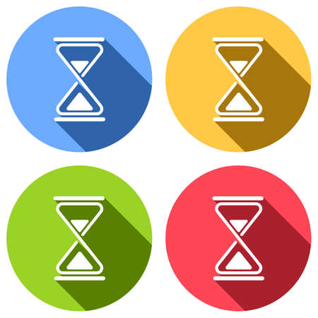 hourglass, simple icon. Set of white icons with long shadow on blue, orange, green and red colored circles. Sticker style Ilustração
