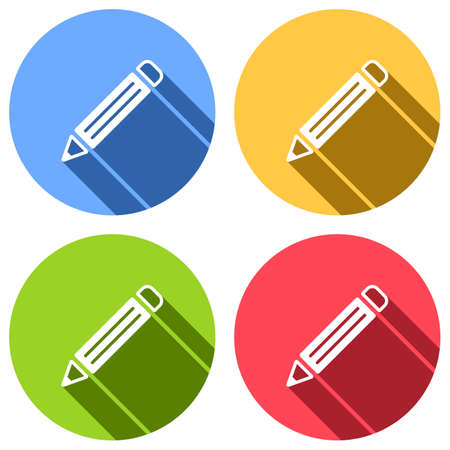 simple pencil symbol. Set of white icons with long shadow on blue, orange, green and red colored circles. Sticker style